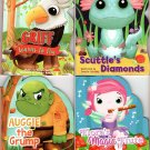 Flora's Magic Flute, Avggie The Grump, Scuttles Diamonds, Griff Learns to Fly -Children's Board Book