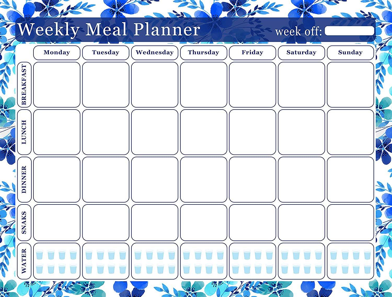 Weekly Meal Planner Magnetic/Desk Calendar - (Flowers 01)