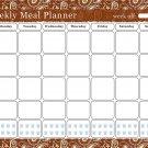 Weekly Meal Planner Magnetic/Desk Calendar - (Braun Paisley 03)
