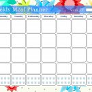 Weekly Meal Planner Magnetic/Desk Calendar - (Flowers 04)