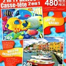 Fish School / Colorful Italy Island - Total 480 Piece 2 in 1 Jigsaw Puzzles - p004