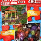 Gazebo at Chautauqua - Colorful Fireworks - Total 480 Piece 2 in 1 Puzzles