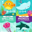 First Grade Educational Workbooks - Good Grades - Spelling, Phonics, Addition, & Subtraction