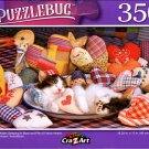 Tabby Kitten Sleeping in Bowl and Pile Fabric Hearts - 350 Pieces Jigsaw Puzzle
