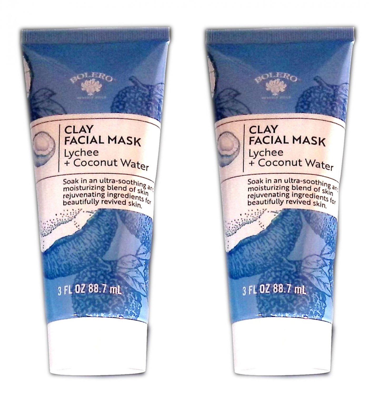 Bolero Clay Facial Mask Lychee + Coconut Water 3fl oz 88.7ml (Set of 2 Pack)