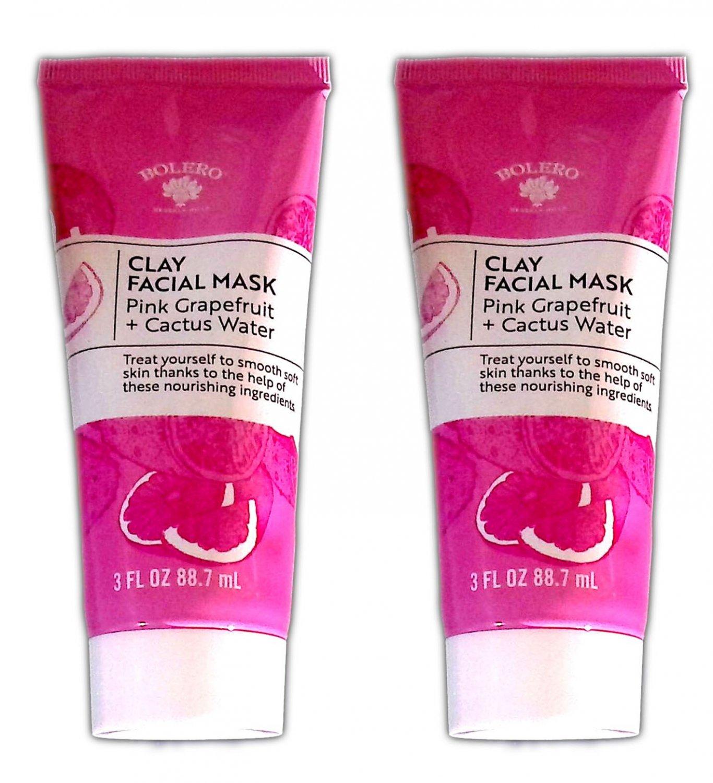 Bolero Clay Facial Mask Pink Grapefruit + Cactus Water 3fl oz 88.7ml (Set of 2 Pack)