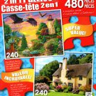 Golden Glory / English Thatched Roof Cottage - Total 480 Piece 2 in 1 Puzzles