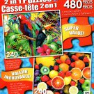 Tropical Birds / Variety of Colorful Fruit - Total 480 Piece 2 in 1 Puzzles