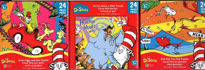 Dr. Seuss - 24 Pieces Jigsaw Puzzle (Set of 3)