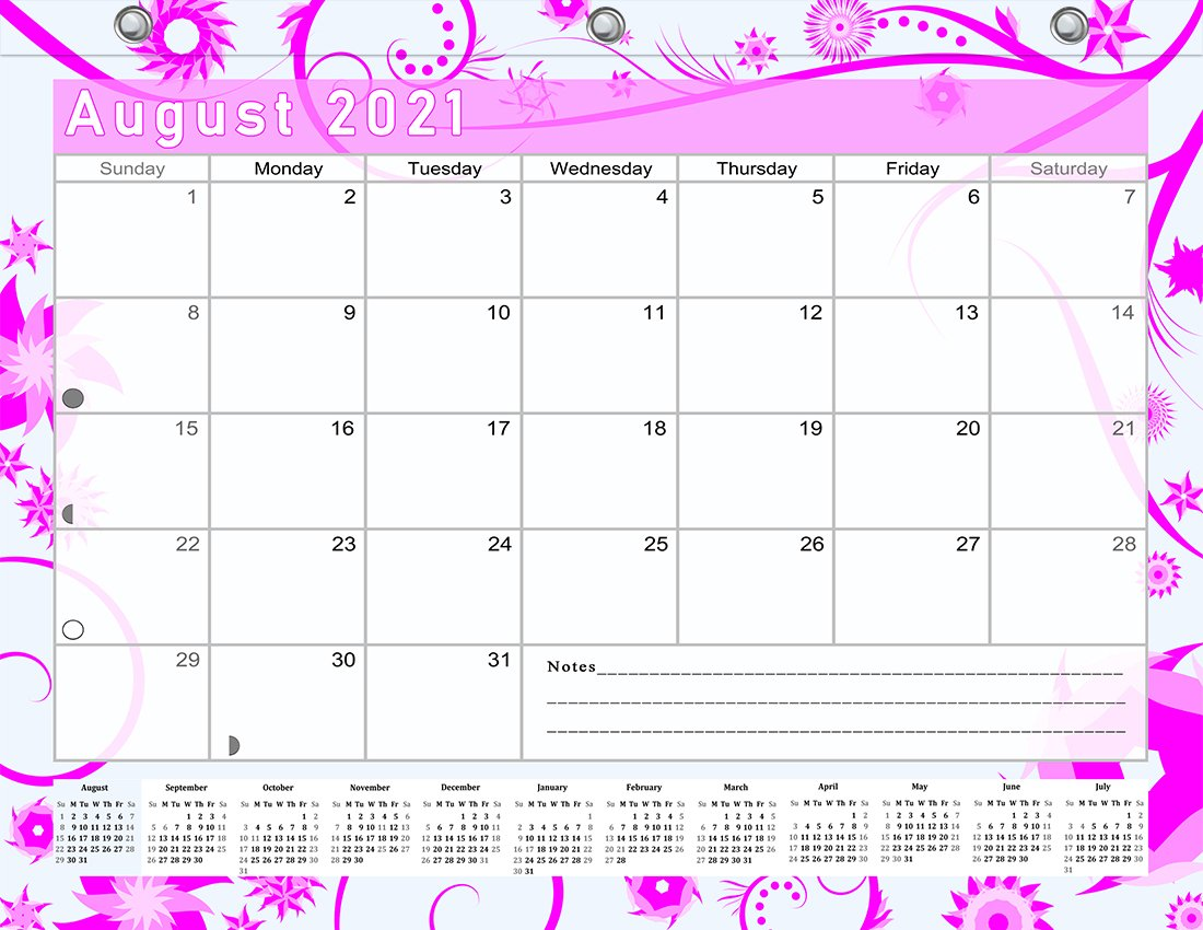 2021-2022 Academic Year 12 Months Student Calendar/Planner for 3-Ring Binder -v016