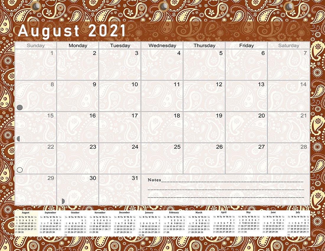 2021-2022 Academic Year 12 Months Student Calendar/Planner for 3-Ring Binder -v017
