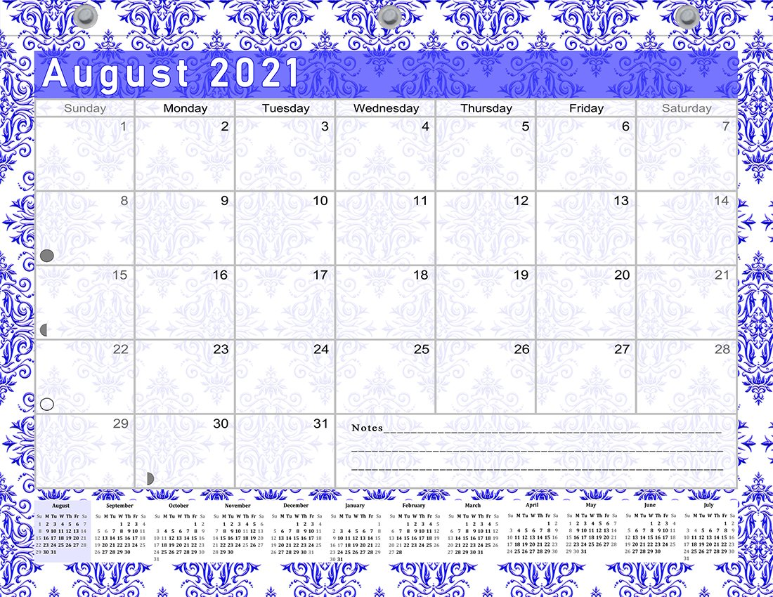 2021-2022 Academic Year 12 Months Student Calendar/Planner for 3-Ring Binder -v018