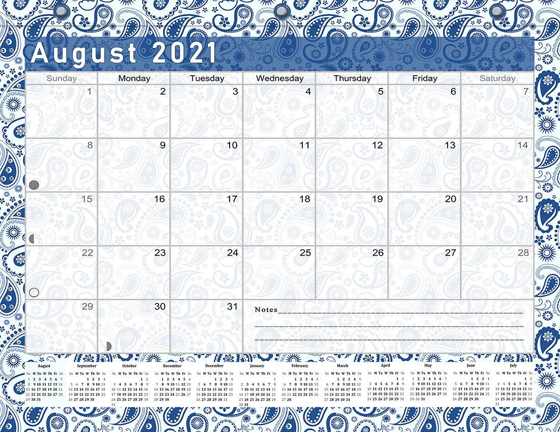 2021-2022 Academic Year 12 Months Student Calendar/Planner for 3-Ring Binder -v019