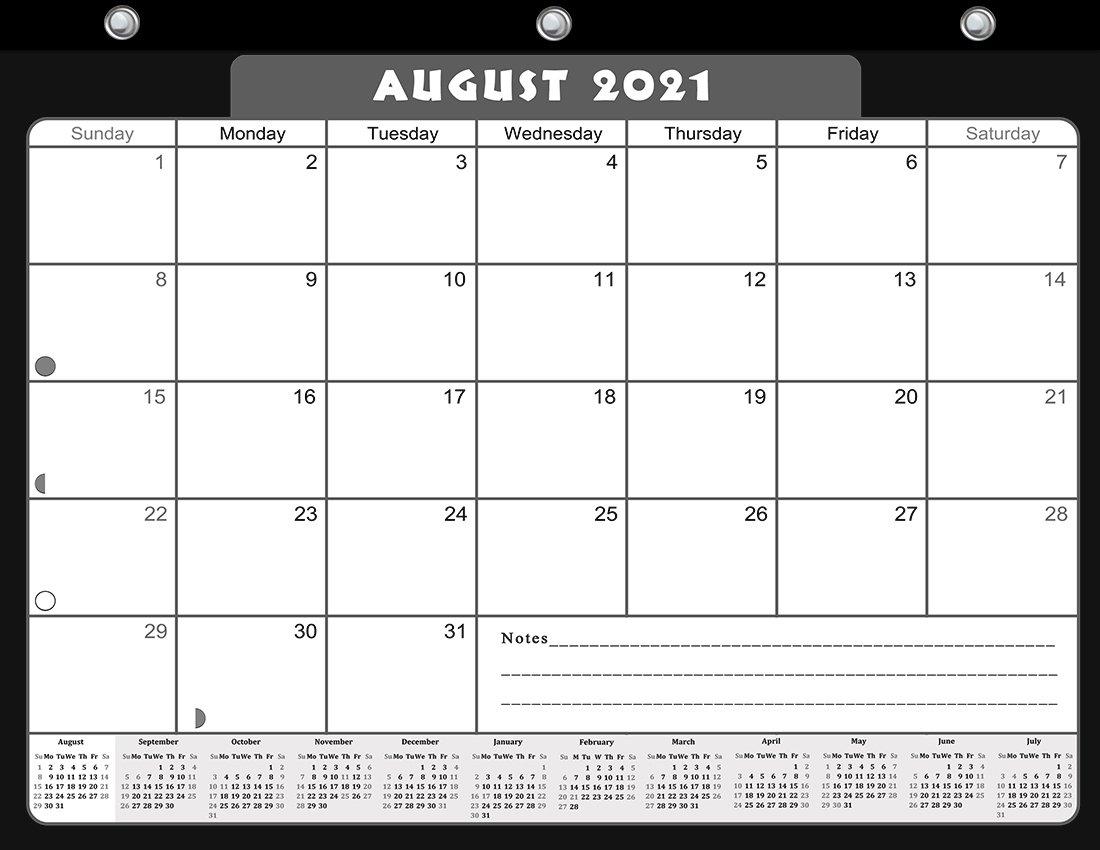 2021-2022 Academic Year 12 Months Student Calendar/Planner for 3-Ring Binder -v023