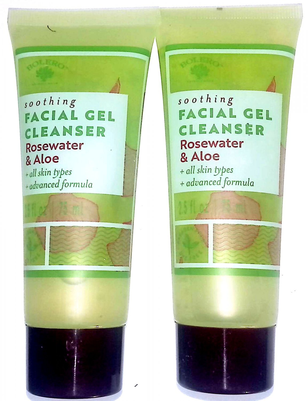 Soothing Facial Gel Cleanser Rosewater & Aloe 2.5 fl oz 75 ml (Set of 2 Pack)