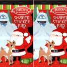 Holiday Christmas Sticker Books - Rudolph Shaped Sticker Pad 4 Assorted Sheets Sticker Book