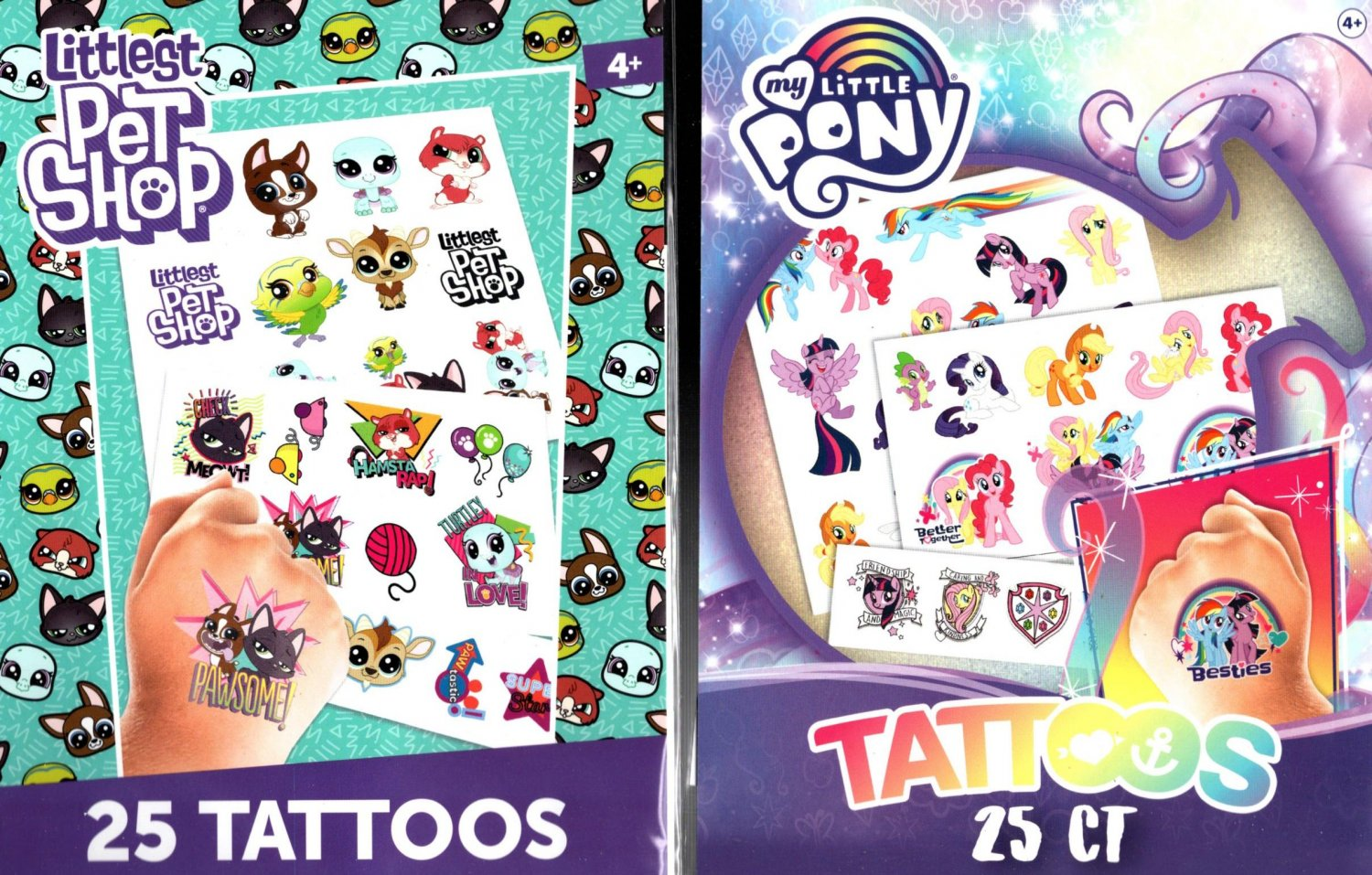 Littlest Pet Shop and My Little Pony - 25 Tattoo (Set of 2 Pack 50 Tattoos)