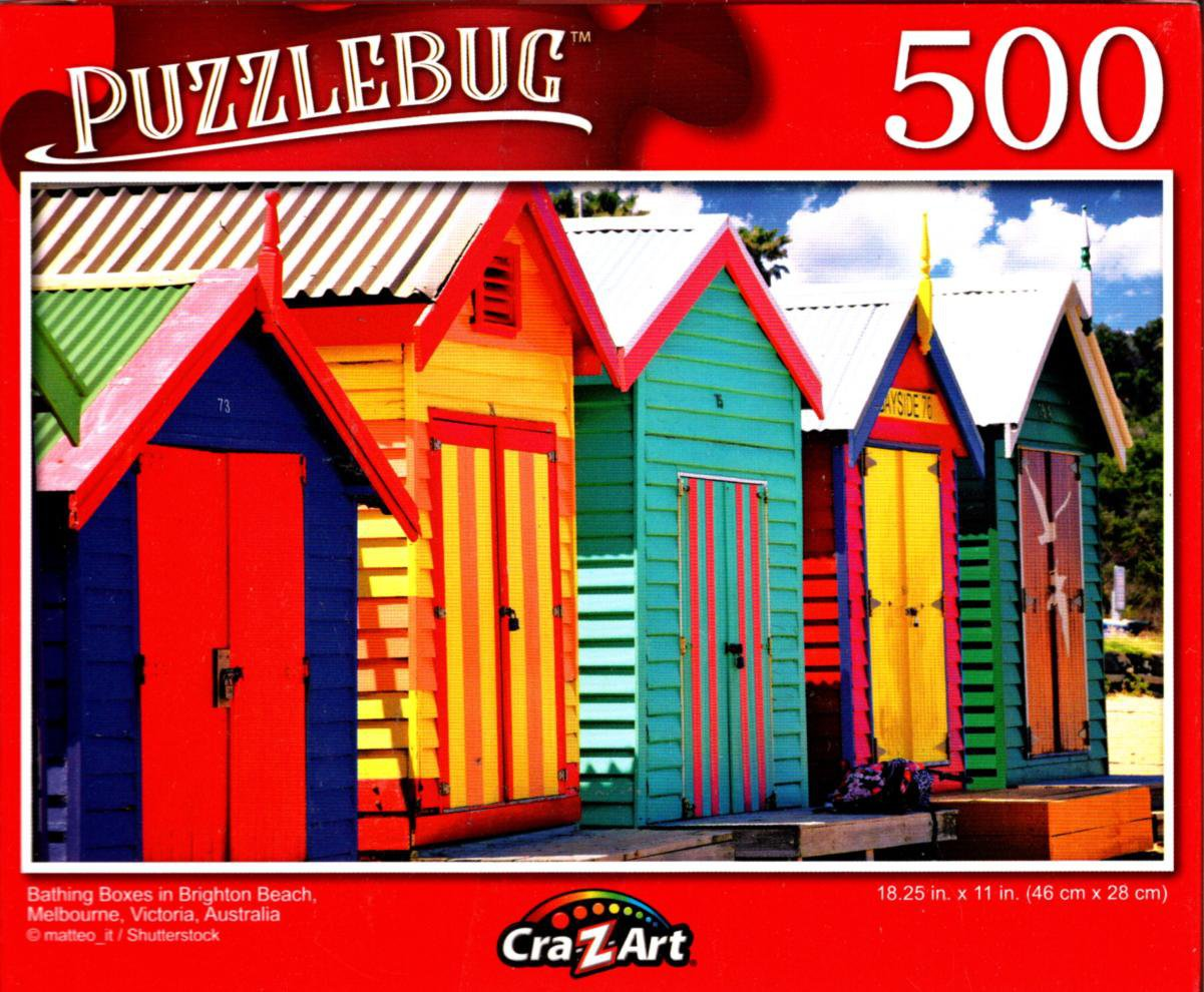 Bathing Boxes in Brighton Beach Melbourne - 500 Pieces Jigsaw Puzzle