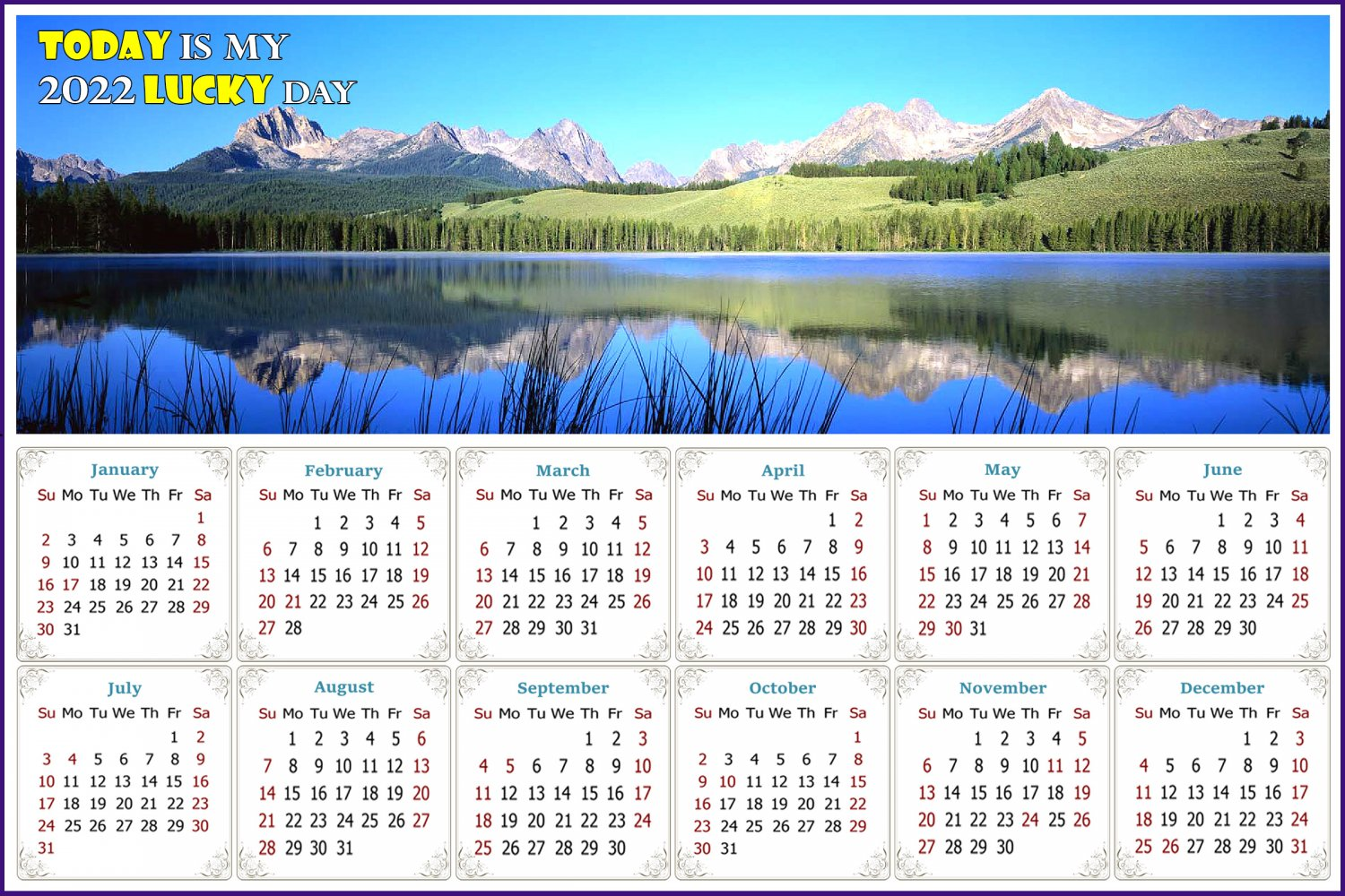 2022 Magnetic Calendar - Calendar Magnets - Today is my Lucky Day - Edition #15