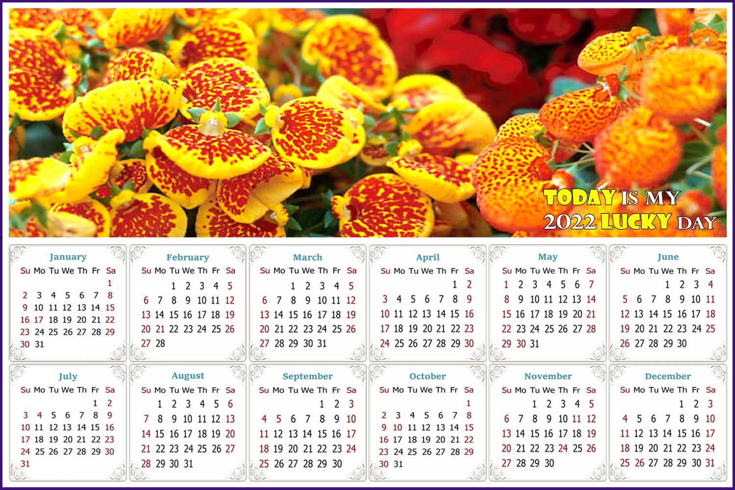 2022 Magnetic Calendar - Calendar Magnets - Today is my Lucky Day - Edition #13