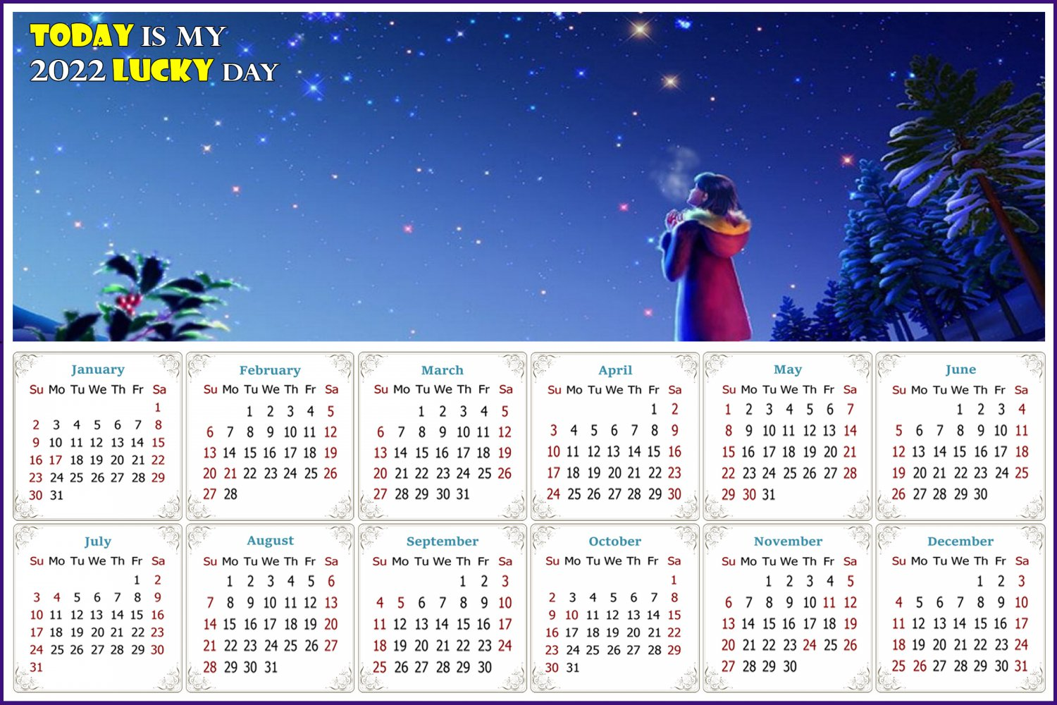 2022 Magnetic Calendar - Calendar Magnets - Today is my Lucky Day - Edition #28