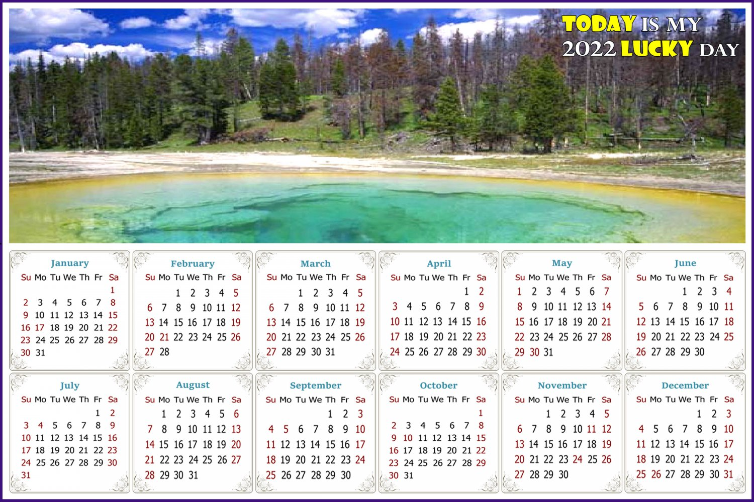 2022 Magnetic Calendar - Calendar Magnets - Today is my Lucky Day - Edition #29