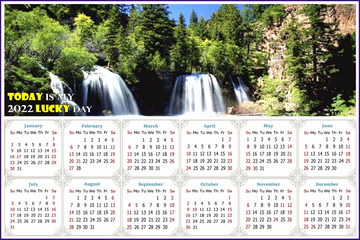 2022 Magnetic Calendar - Calendar Magnets - Today is my Lucky Day - Edition #30
