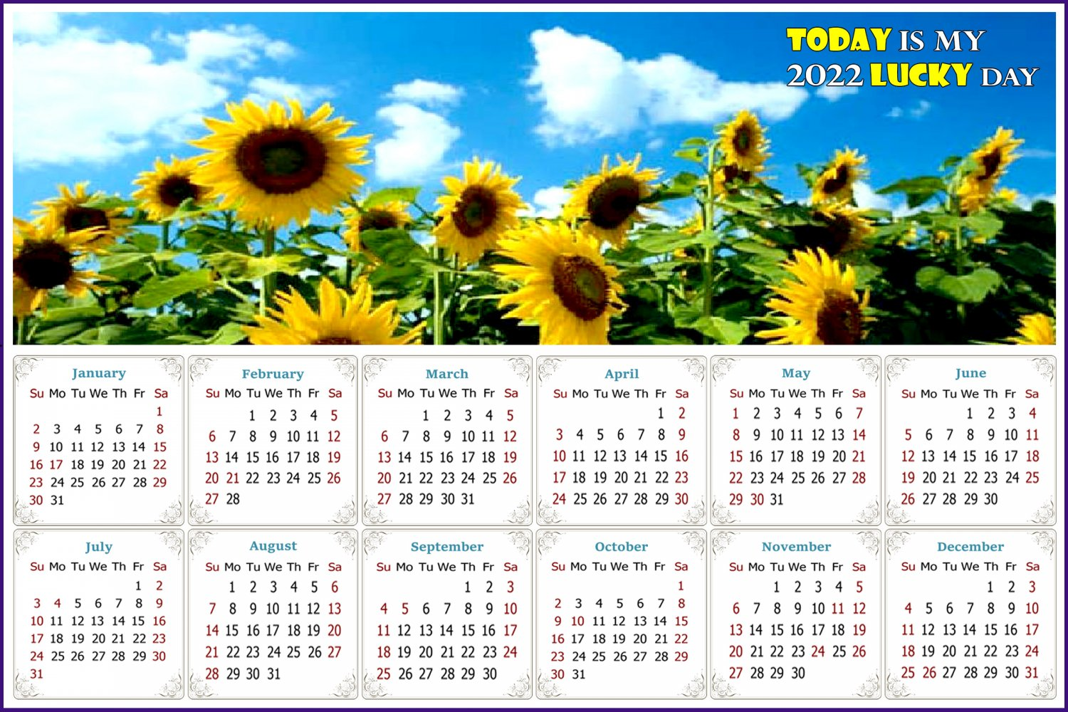 2022 Magnetic Calendar - Calendar Magnets - Today is my Lucky Day - Edition #34