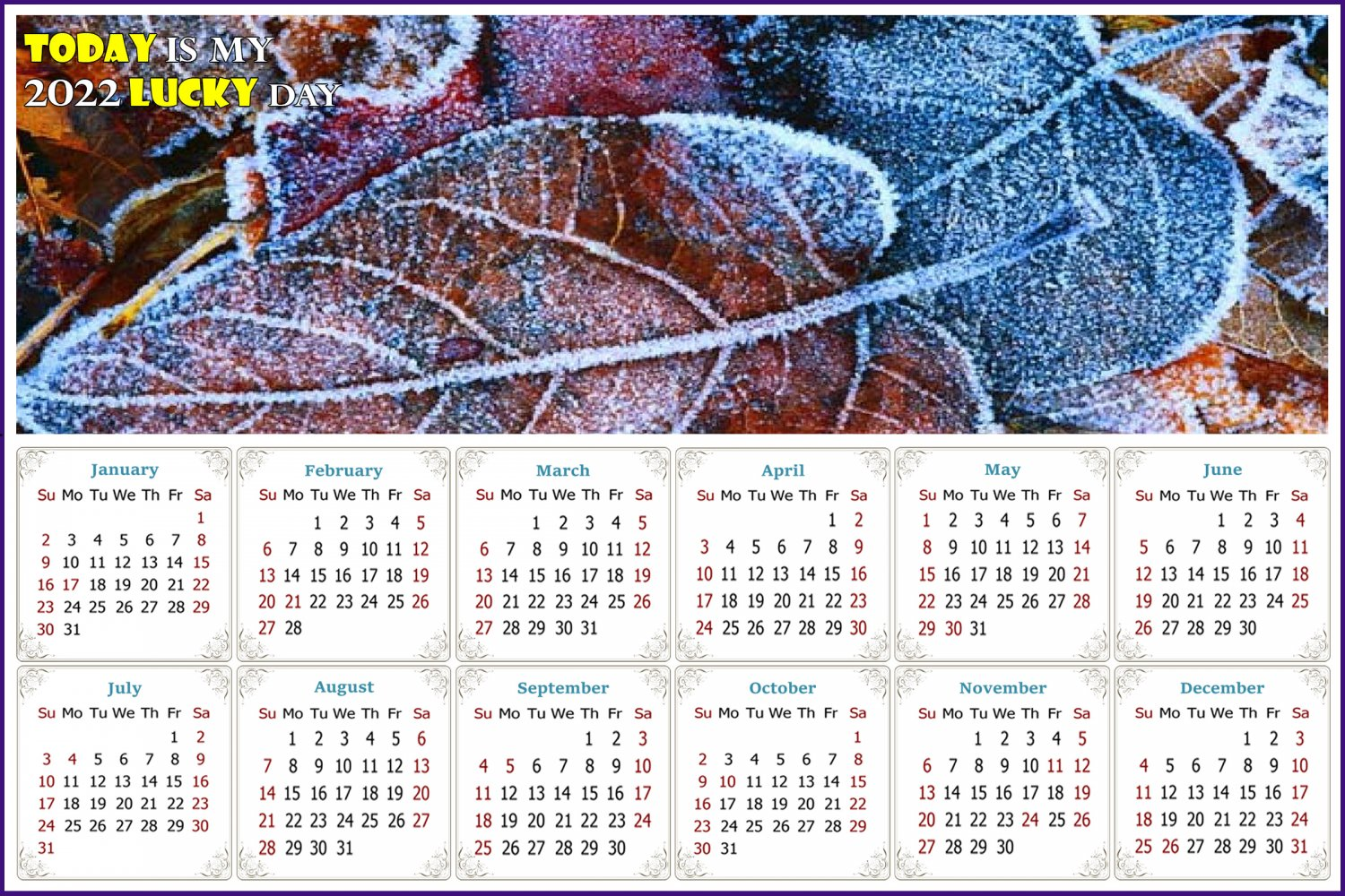 2022 Magnetic Calendar - Calendar Magnets - Today is my Lucky Day - Edition #36