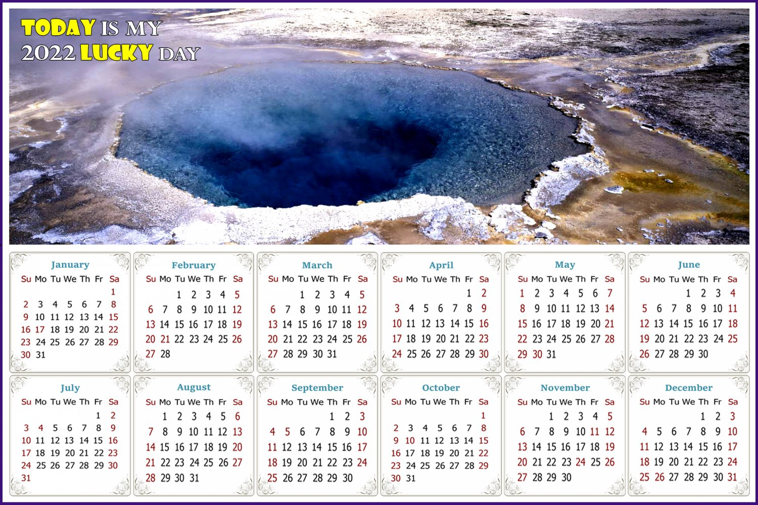 2022 Magnetic Calendar - Calendar Magnets - Today is my Lucky Day - Edition #39