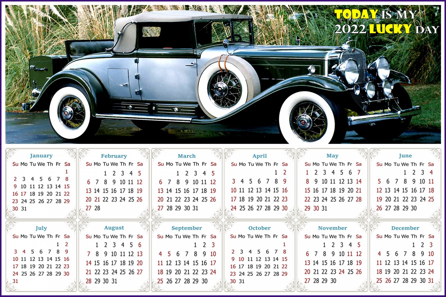 2022 Magnetic Calendar - Calendar Magnets - Today is my Lucky Day - Cars Edition #45