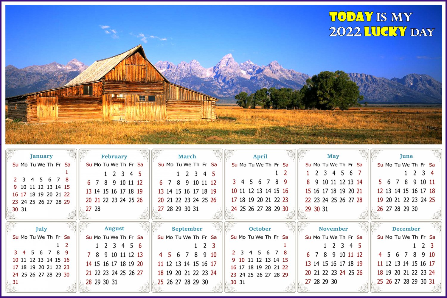 2022 Magnetic Calendar - Today is My Lucky Day - (Grand Tetons and Old barn)