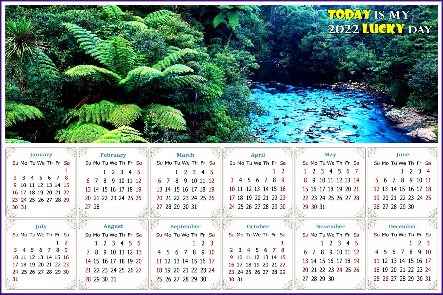 2022 Magnetic Calendar - Today is My Lucky Day - (Waipoua Kauri Reserve)
