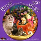 Kittens and Flowers - 350 Round Piece Jigsaw Puzzle for Age 14+