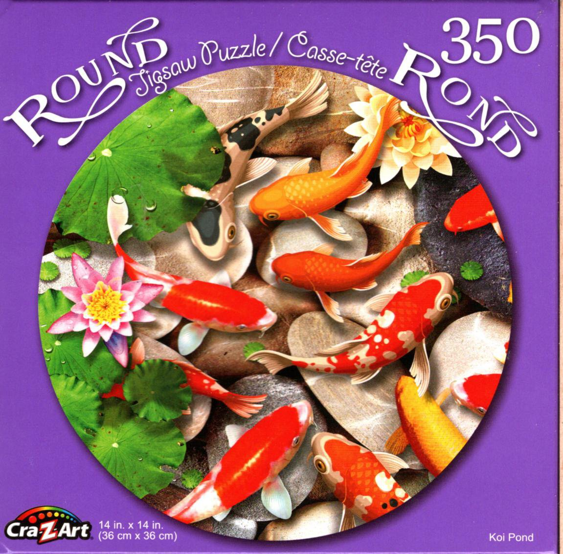 Koi Pond - 350 Round Piece Jigsaw Puzzle for Age 14+
