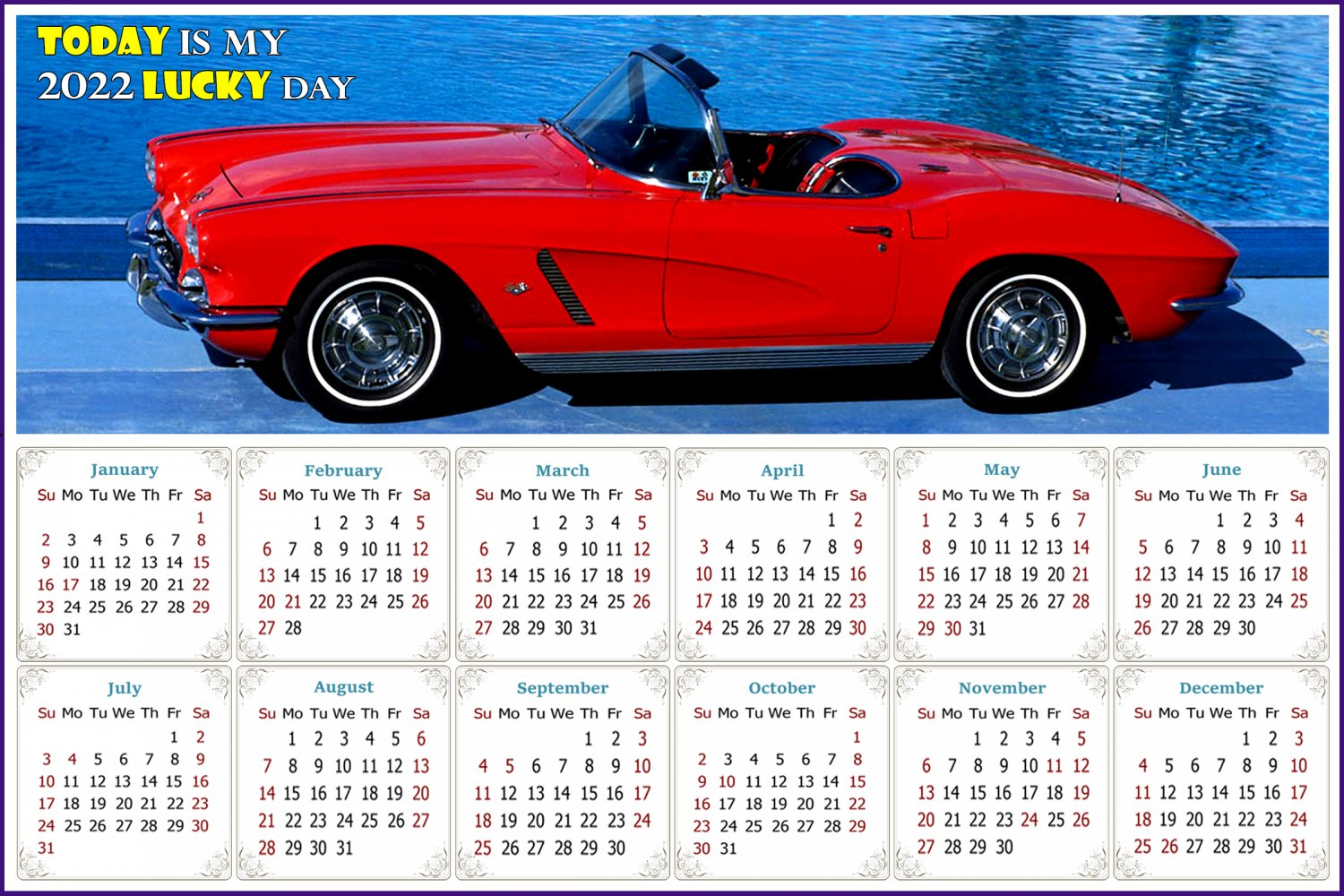 2022 Magnetic Calendar - Calendar Magnets - Today is my Lucky Day - Cars Edition #48