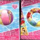 Disney Princess Swim Ring 17.5in + Beach Ball 13.5in Swim Time Fun! (Set of 2)