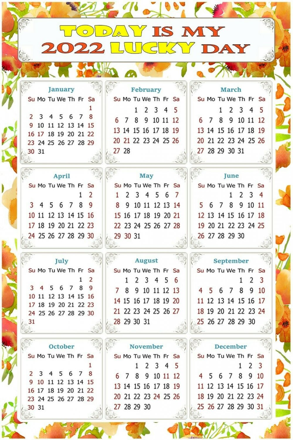 2022 Magnetic Calendar - Today is My Lucky Day - Themed 021 (5,25 x 8)