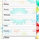 Magnetic Dry Erase Calendar - White Board Planner for Refrigerator / School Lockers - Flowers 3/01