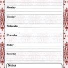 Magnetic Dry Erase Calendar - White Board Planner for Refrigerator / School Lockers - Damask 3/010