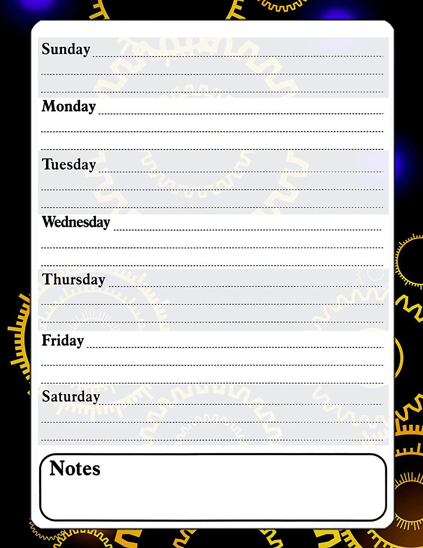 Magnetic Dry Erase Calendar - White Board Planner for Refrigerator / School Lockers - Fractal 3/017