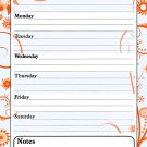 Magnetic Dry Erase Calendar - White Board Planner for Refrigerator / School Lockers - Fractal 3/018