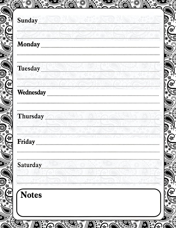 Magnetic Dry Erase Calendar - White Board Planner for Refrigerator - Paisley Black & White 3/019
