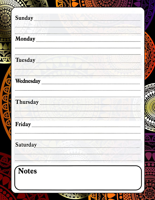 Magnetic Dry Erase Calendar - White Board Planner for Refrigerator - Fractal 3/020