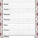 Magnetic Dry Erase Calendar - White Board Planner for Refrigerator - Damask 3/022