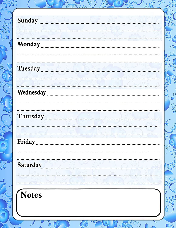 Magnetic Dry Erase Calendar - White Board Planner for Refrigerator - Paisley Blue 3/024
