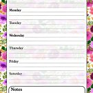 Magnetic Dry Erase Calendar - White Board Planner for Refrigerator - Multicolored Flowers 3/027