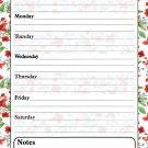 Magnetic Dry Erase Calendar - White Board Planner for Refrigerator - Flowers 3/030