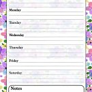 Magnetic Dry Erase Calendar - White Board Planner for Refrigerator - Multicolored Flowers 3/031