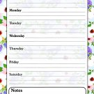 Magnetic Dry Erase Calendar - White Board Planner for Refrigerator - Multicolored Flowers 3/032
